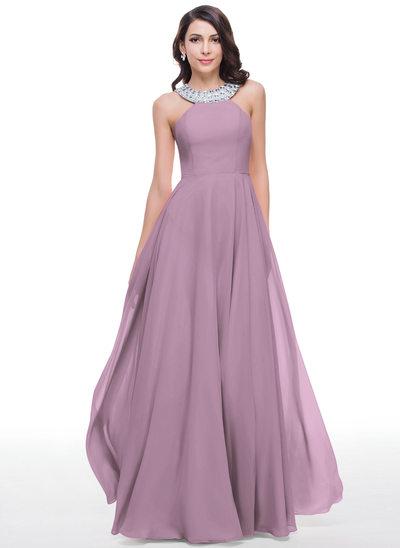 Corte A Decote redondo Longos Tecido de seda Vestido de baile com Beading