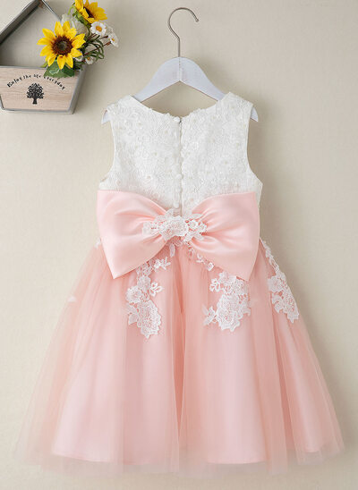 A-Line Knee-length Flower Girl Dress - Tulle/Lace Sleeveless Scoop Neck With Beading/Flower(s)/Bow(s) (Undetachable sash)