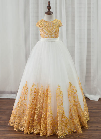 Ball Gown Floor-length Flower Girl Dress - Satin/Tulle/Lace Sleeveless Scoop Neck With Bow(s) (Undetachable sash)