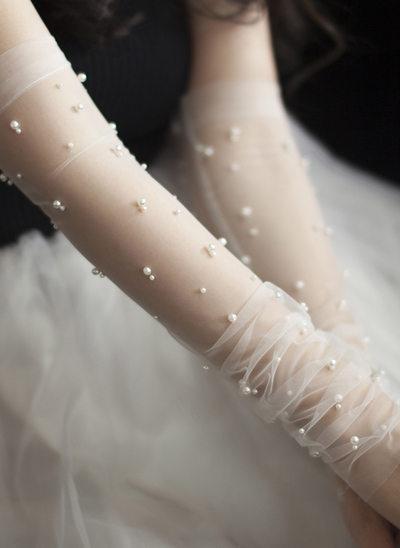 Tyl/Imiteret Pearl Elbow Længde Brude Handsker
