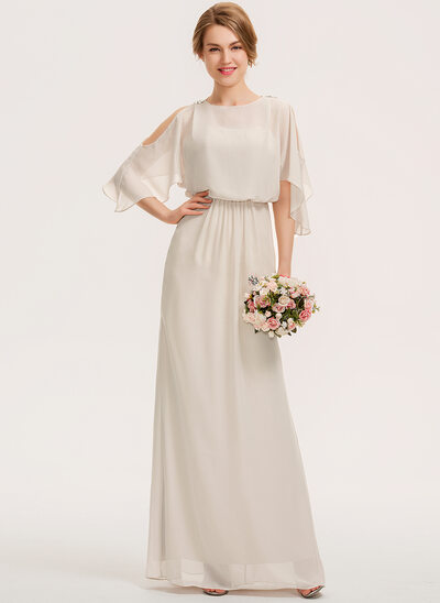 Sheath/Column Scoop Neck Floor-Length Chiffon Bridesmaid Dress With Cascading Ruffles