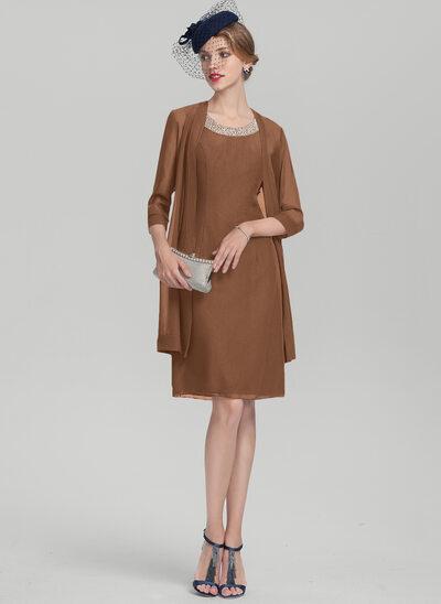 A-Linie/Princess-Linie U-Ausschnitt Knielang Chiffon Kleid für die Brautmutter mit Perlstickerei