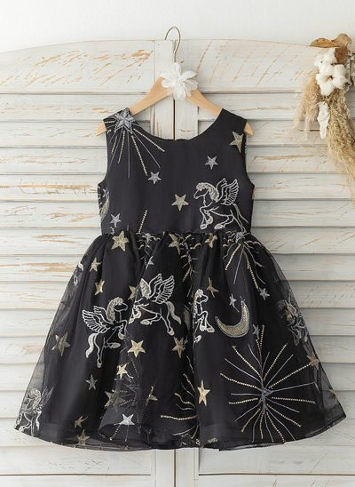 A-Line Knee-length Flower Girl Dress - Tulle Sleeveless Scoop Neck