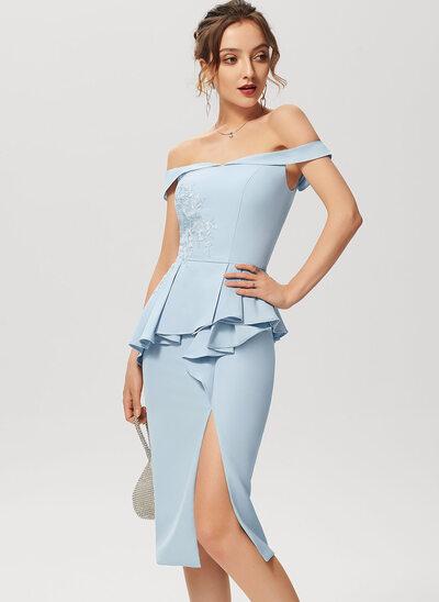 Wąska Dekolt typu Carmen Do Kolan Elastyczna Krepa Sukienki Koktajlowe Z Koronka Podział przednia Ruffles kaskadowe