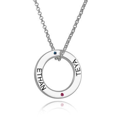 Custom Sterling Silver Engraving/Engraved Two Birthstone Necklace Circle Necklace With Birthstone - Birthday Gifts Mother's Day Gifts