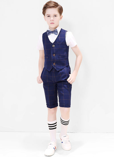 gutter 4 stykker Plaid Suits til ringbærere /Side Boy Suits med Skjorte vest sløyfe Shorts