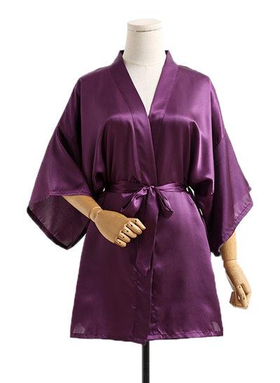 la mariée Demoiselle d'honneur Soie avec Longueur mollet Kimono robes