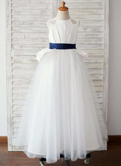 Ball-Gown/Princess Floor-length Flower Girl Dress - Satin/Tulle Sleeveless Scoop Neck (Undetachable sash)