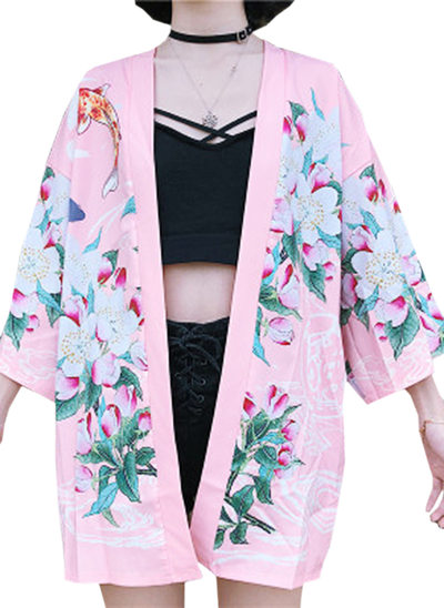 la mariée Demoiselle d'honneur Polyester avec Court Robes florales Kimono robes