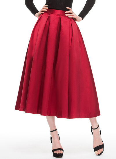A-Line/Princess Tea-Length Satin Cocktail Dress