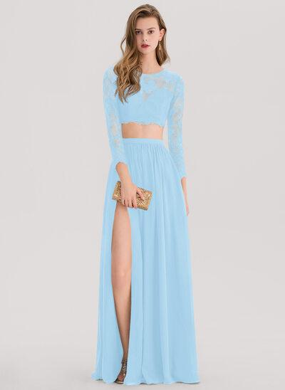 Corte A Decote redondo Longos Tecido de seda Vestido de baile com Frente aberta