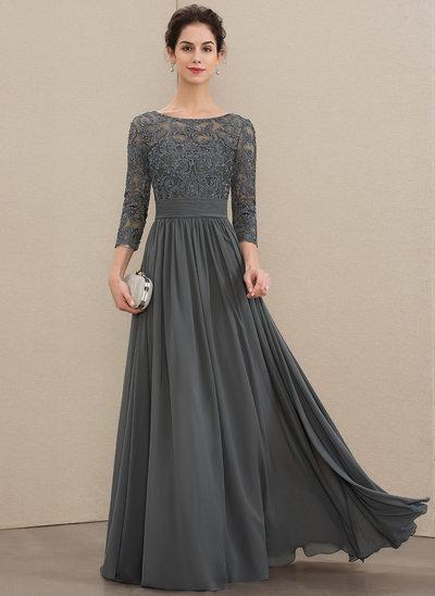 Corte A Decote redondo Longos Tecido de seda Renda Vestido para a mãe da noiva com Pregueado Beading lantejoulas