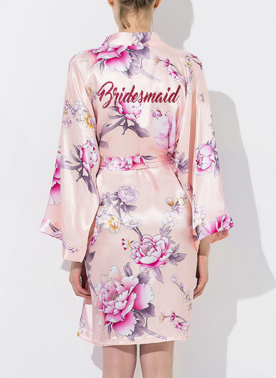 Silk Bridesmaid Floral Robes Glitter Print Robes