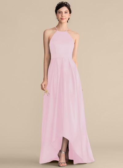 Corte A Escote Cuadrado Asimétrico Satén Vestido de baile de promoción