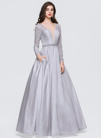 Платье для Балла V-образный Длина до пола Тафта Платье Для Выпускного Вечера с развальцовка Карманы
