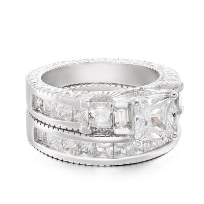 Sterling Silver Cubic Zirconia Vintage Three Stone Princess Cut Promise Rings Bridal Sets -
