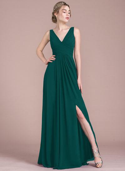 A-Line/Princess V-neck Floor-Length Chiffon Bridesmaid Dress With Ruffle Split Front