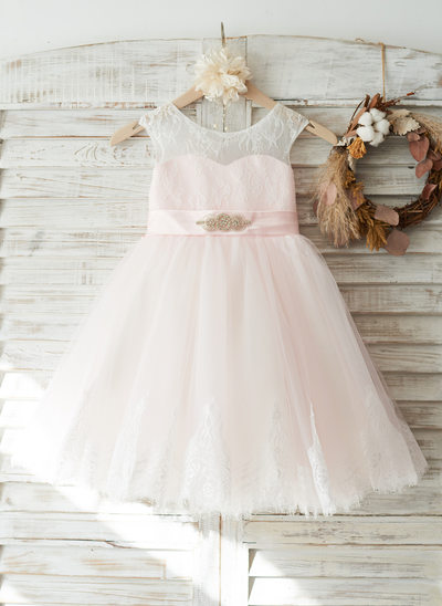 A-Line/Princess Knee-length Flower Girl Dress - Tulle/Lace Sleeveless Scoop Neck With Beading (Detachable sash)