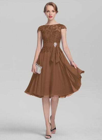 A-Linie U-Ausschnitt Knielang Chiffon Spitze Kleid für die Brautmutter mit Perlstickerei