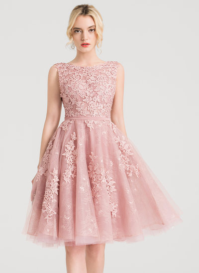 A-Line/Princess Scoop Neck Knee-Length Tulle Cocktail Dress With Beading