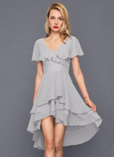 A-Line/Princess V-neck Asymmetrical Chiffon Cocktail Dress With Cascading Ruffles