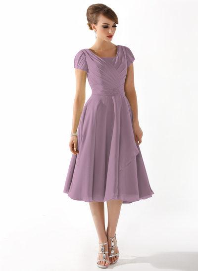 Linia A/Księżniczka Kwadratowy Dekolt Do Kolan Chiffon Suknia dla Mamy Panny Młodej Z Żabot Perełki