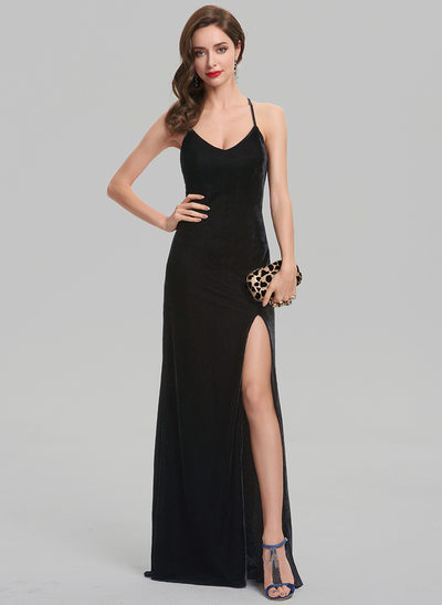 Sheath/Column Scoop Neck Floor-Length Velvet Evening Dress With Split Front