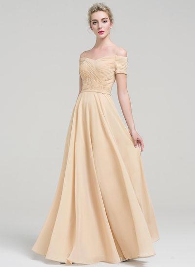 Forme Princesse Hors-la-épaule Longueur ras du sol Mousseline Robe bal d'étudiant avec Plissé