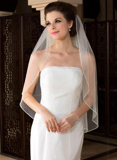 Einschichtig Fingerspitze Braut Schleier mit Perlenbesetzter Saum