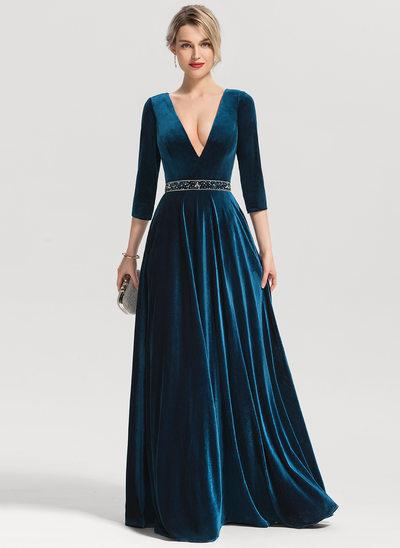 A-Linie/Princess-Linie V-Ausschnitt Bodenlang Samt Abendkleid mit Perlstickerei Pailletten