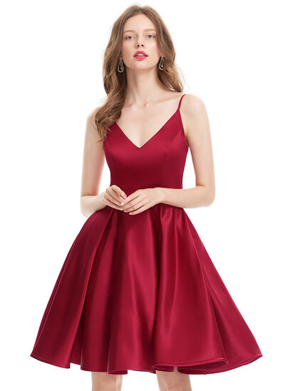 A-Line/Princess V-neck Knee-Length Satin Prom Dress
