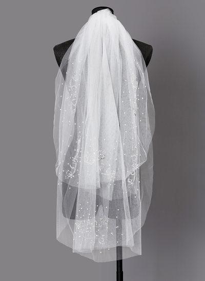 Due strati Bordo tagliato Velare da sposa gomito con Di faux perla