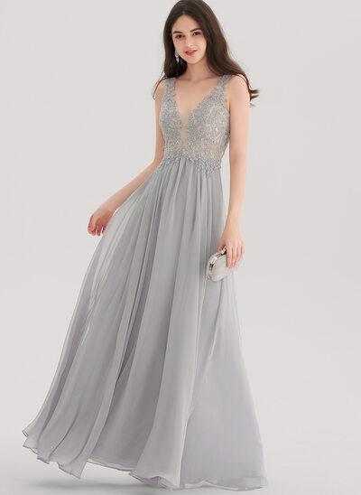 Vestidos princesa/ Formato A Decote V Longos Tecido de seda Vestido de baile com Beading