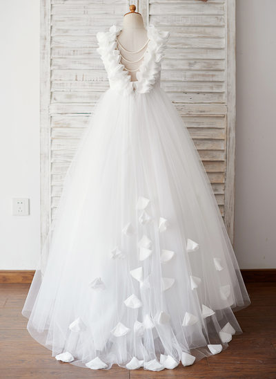 Ball-Gown/Princess Sweep Train Flower Girl Dress - Tulle/Lace Sleeveless Scoop Neck