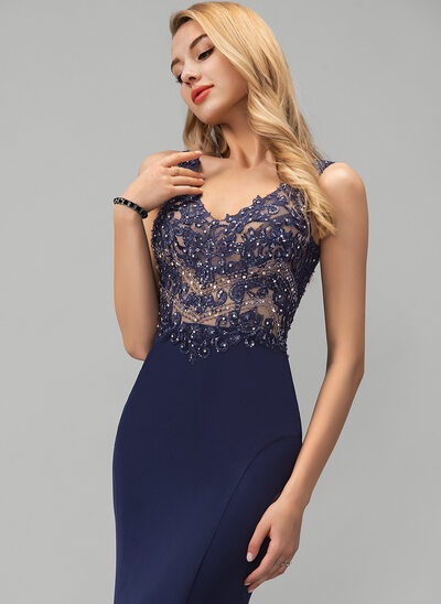 Trumpet/Mermaid V-neck Sweep Train Stretch Crepe Prom Dresses With Beading Sequins