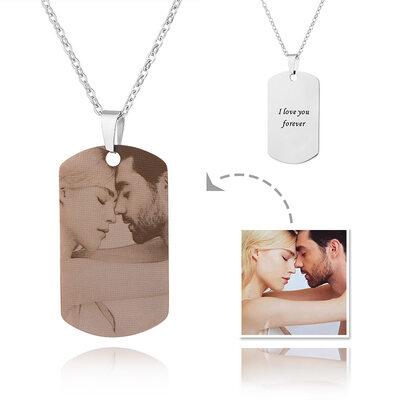 Gepersonaliseerde zilver Graveren / Gegraveerde Label Foto Ketting - Moederdag Cadeaus