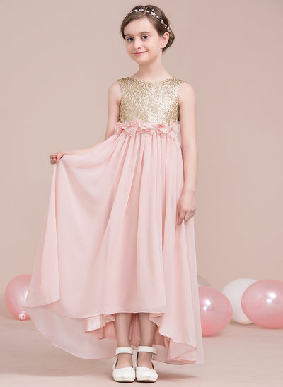 A-Line/Princess Scoop Neck Asymmetrical Chiffon Junior Bridesmaid Dress With Flower(s) Bow(s)