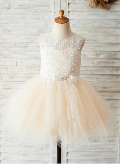 Vestidos princesa/ Formato A Coquetel Vestidos de Menina das Flores - Tule/Renda Sem magas Decote redondo com Curvado
