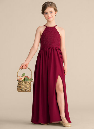 A-Line/Princess Scoop Neck Floor-Length Chiffon Lace Junior Bridesmaid Dress With Split Front