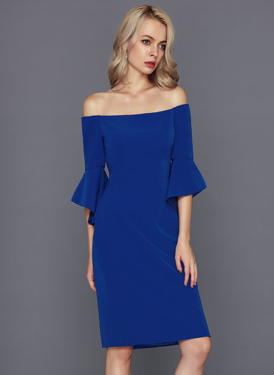 Sheath/Column Off-the-Shoulder Knee-Length Satin Homecoming Dress
