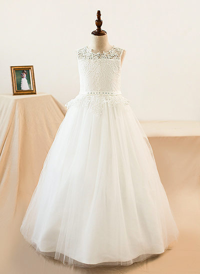 A-Line Floor-length Flower Girl Dress - Tulle/Lace Sleeveless Scoop Neck With Sash/Beading/Appliques/Bow(s)/Rhinestone (Petticoat NOT included)/(Undetachable sash)