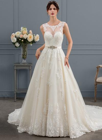 Duchesse-Linie U-Ausschnitt Königliche Schleppe Tüll Brautkleid mit Perlstickerei Pailletten