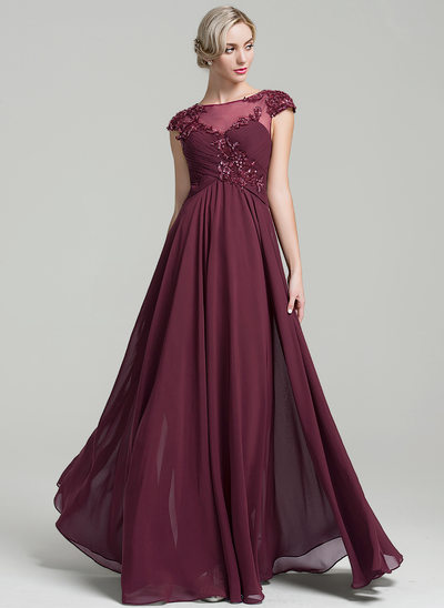 A-Line Scoop Neck Floor-Length Chiffon Mother of the Bride Dress With Ruffle Beading Appliques Lace Sequins