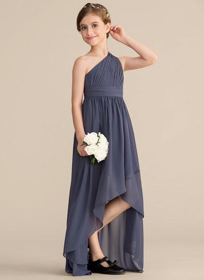 A-Linie/Princess-Linie Eine Schulter Asymmetrisch Chiffon Kleid für junge Brautjungfern mit Rüschen