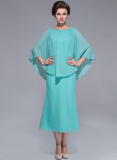 Forme Princesse Col rond Longueur mollet Mousseline Robe de mère de la mariée