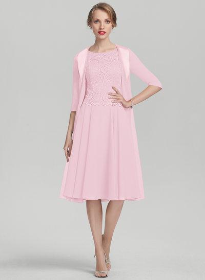 A-Linie U-Ausschnitt Knielang Chiffon Spitze Kleid für die Brautmutter