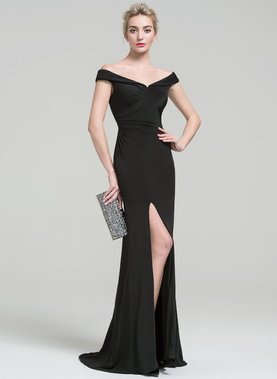 Sheath/Column Off-the-Shoulder Sweep Train Jersey Prom Dresses With Ruffle Split Front
