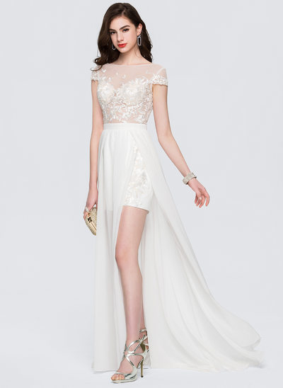 A-Line/Princess Scoop Neck Sweep Train Chiffon Prom Dresses With Beading Split Front