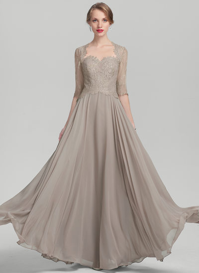 A-Line/Princess Sweetheart Floor-Length Chiffon Lace Evening Dress