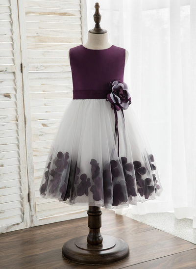 Princesový Po kolena Flower Girl Dress - Satén/Tyl Bez rukávů Scoop Neck S Květiny